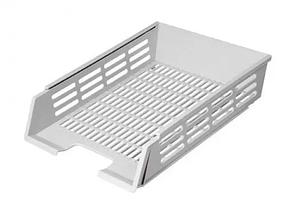 Лоток горизонтальный с пазами серый - вместительный лоток, прочная конструкция