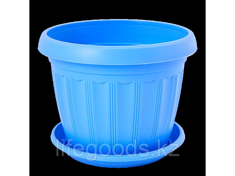"Вазон ""Терра"" с подставкой  8* 6,5см. (голубой)"