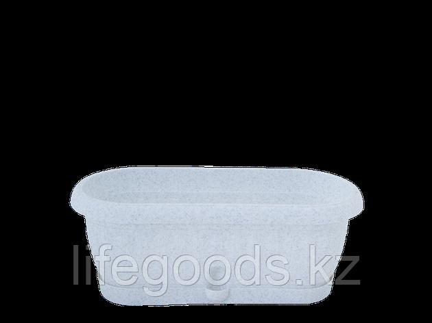 """Вазон """"Терра"""" с подставкой кактус. 31,5*11,0см. (белый флок), фото 2"""