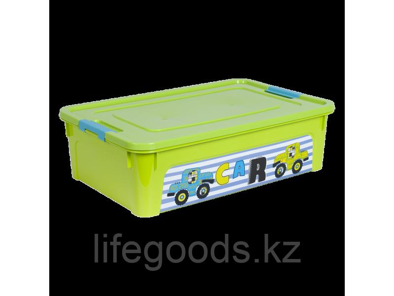 """Контейнер """"Smart Box"""" с декором My Car 14л. (оливковый/оливковый/бирюзовый) 170110003"""