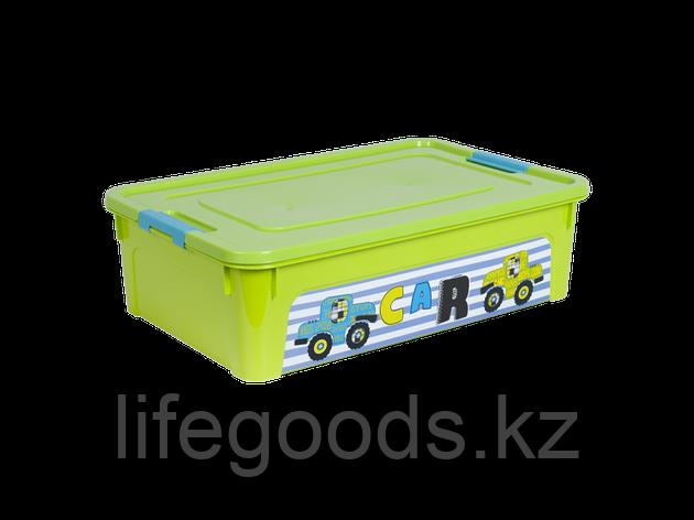 """Контейнер """"Smart Box"""" с декором My Car 14л. (оливковый/оливковый/бирюзовый) 170110003, фото 2"""