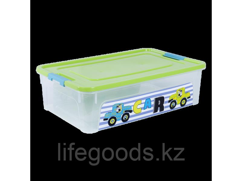 """Контейнер """"Smart Box"""" с декором My Car 14л. (прозрачный/оливковый/бирюзовый) 170110008"""