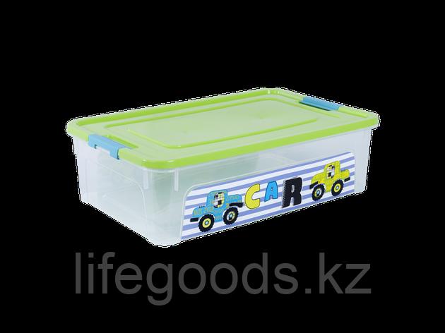 """Контейнер """"Smart Box"""" с декором My Car 14л. (прозрачный/оливковый/бирюзовый) 170110008, фото 2"""