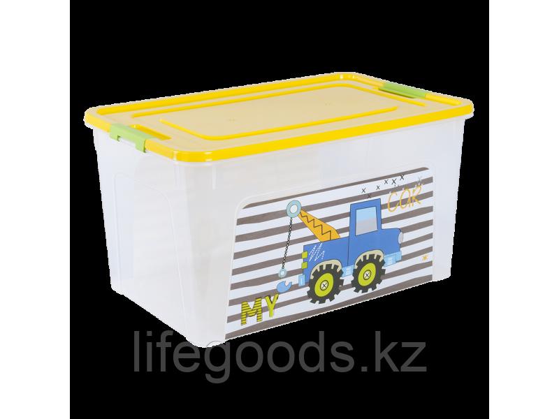 """Контейнер """"Smart Box"""" с декором My Car 27л. (прозрачный/т.жёлтый/оливковый) 170110009"""