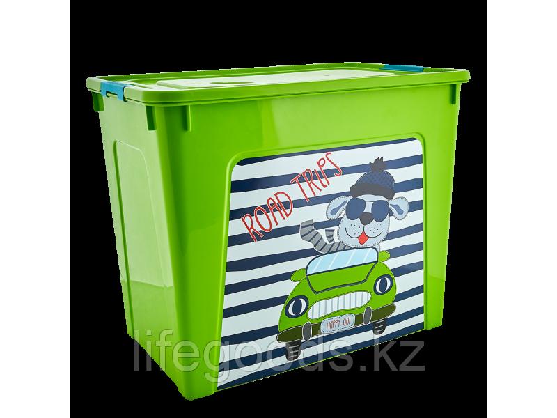 """Контейнер """"Smart Box"""" с декором My Car 40л. (оливковый/оливковый/бирюзовый) 170110005"""