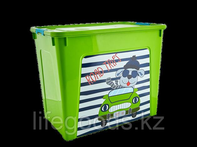 """Контейнер """"Smart Box"""" с декором My Car 40л. (оливковый/оливковый/бирюзовый) 170110005, фото 2"""