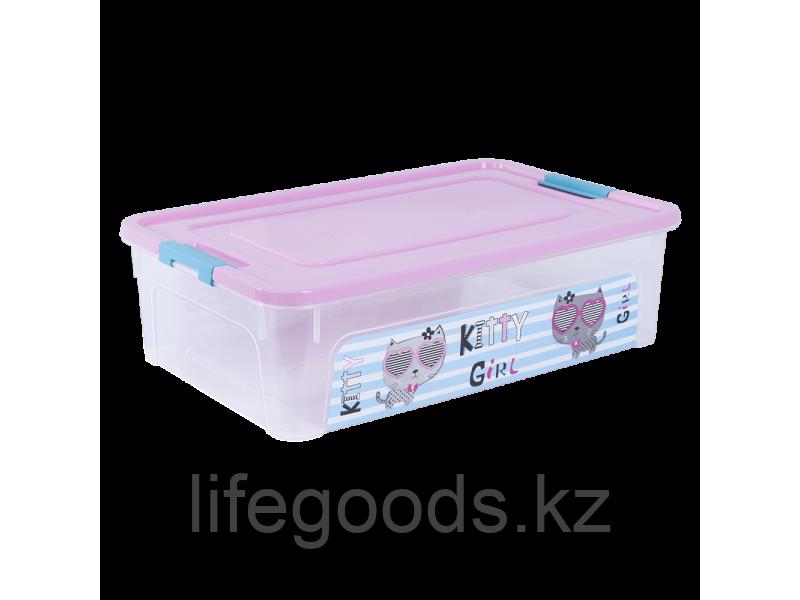 """Контейнер """"Smart Box"""" с декором Pet Shop 14л. (прозрачный/розовый/бирюзовый) 170110018"""