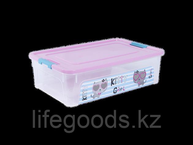 """Контейнер """"Smart Box"""" с декором Pet Shop 14л. (прозрачный/розовый/бирюзовый) 170110018, фото 2"""
