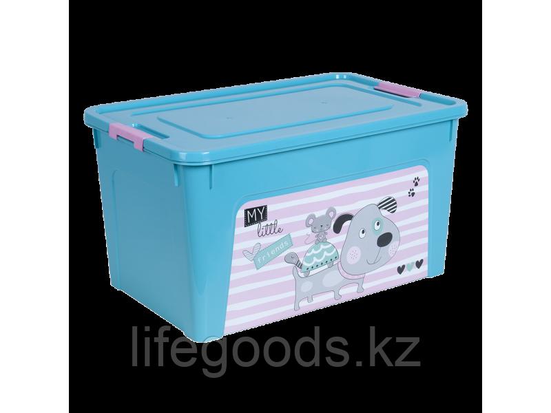 """Контейнер """"Smart Box"""" с декором Pet Shop 27л. (бирюзовый/бирюзовый/розовый) 170110014"""