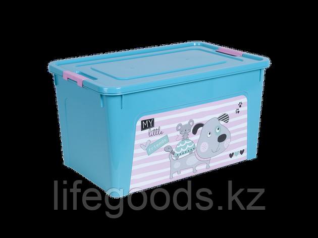 """Контейнер """"Smart Box"""" с декором Pet Shop 27л. (бирюзовый/бирюзовый/розовый) 170110014, фото 2"""