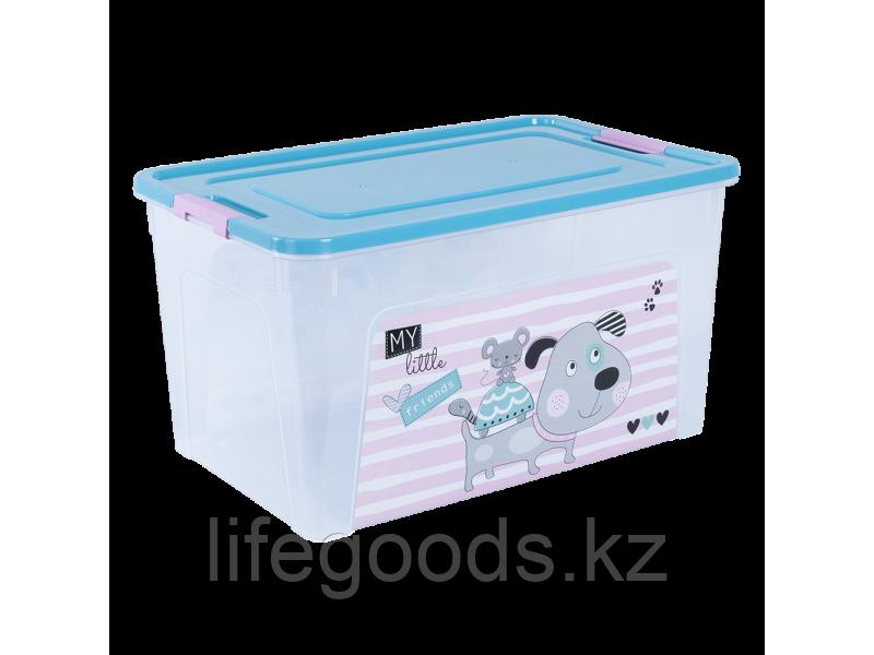 """Контейнер """"Smart Box"""" с декором Pet Shop 27л. (прозрачный/бирюзовый/розовый) 170110019"""