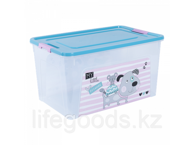 """Контейнер """"Smart Box"""" с декором Pet Shop 27л. (прозрачный/бирюзовый/розовый) 170110019, фото 2"""