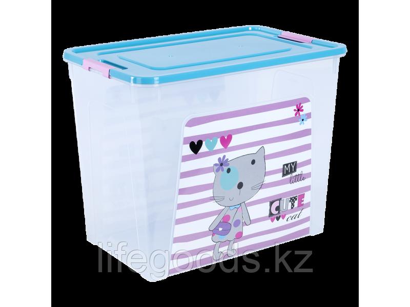 """Контейнер """"Smart Box"""" с декором Pet Shop 40л. (прозрачный/бирюзовый/розовый) 170110020"""