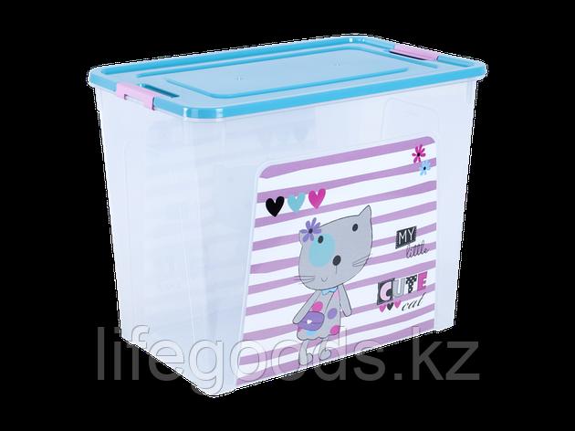 """Контейнер """"Smart Box"""" с декором Pet Shop 40л. (прозрачный/бирюзовый/розовый) 170110020, фото 2"""