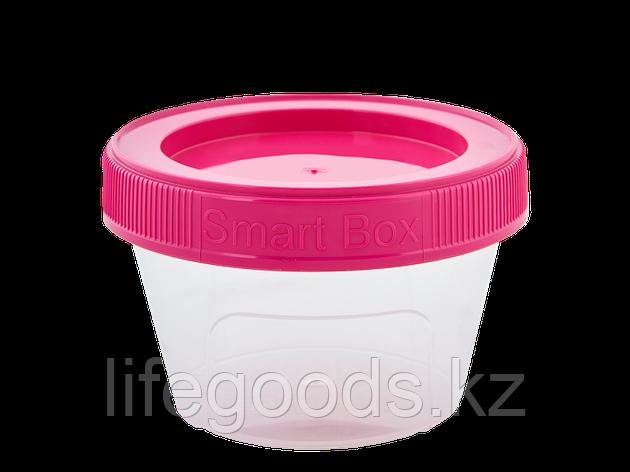 """Контейнер """"Smart Box"""" круглый 0,20л. (прозрачный/т.розовый) 171215030, фото 2"""