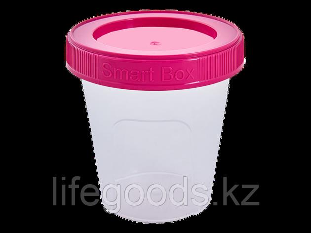 """Контейнер """"Smart Box"""" круглый 0,24л. (прозрачный/т.розовый) 171215025, фото 2"""