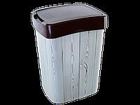 Ведро Евро для мусора с декором 10л. (т.корич., Дерево темное)
