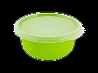 Миска кухонная с крышкой 1,75л. (оливковая/прозрачная) 180510045