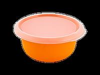 Миска кухонная с крышкой 1,75л. (св.оранж./прозрачная) 180510040