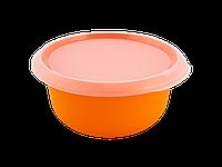 Миска кухонная с крышкой 2,75л. (св.оранж./прозрачная) 180510047