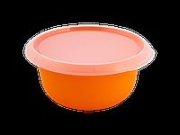 Миска кухонная с крышкой 3,75л. (св.оранж./прозрачная) 180510053
