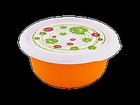 Миска с крышкой с декором 1,75л. (Овощи, светло-оранжевый) 180510058