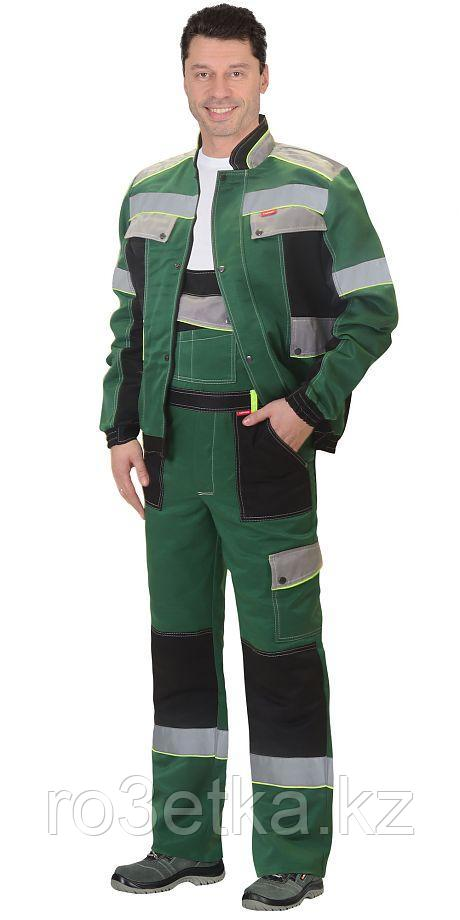 """Костюм """"Полином"""":муж., кур. кор., п/к. зеленый с черным и св.серым и СОП 50мм."""
