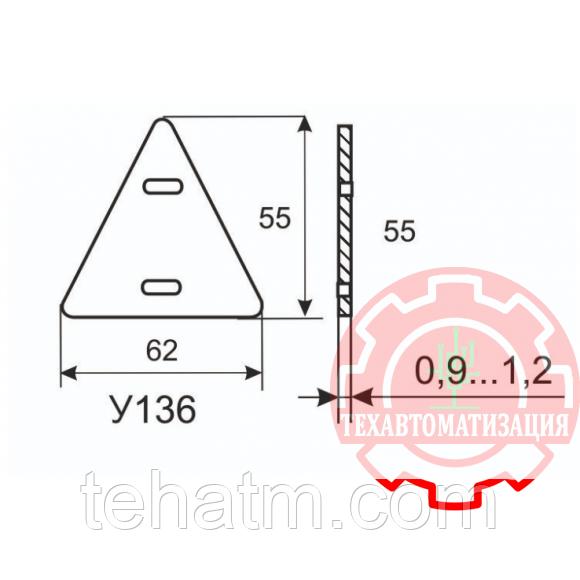 Треугольная бирка для маркировки контрольного кабеля У-136 в упаковке 1000 штук PUE-136