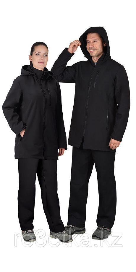 """Куртка """"Азов"""" удлиненная черная с капюшоном, софтшелл"""