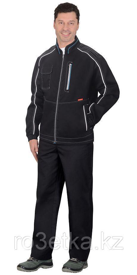 """Куртка """"АЛЕКС"""" летняя мужская черная с голубой отделкой"""