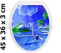 Сиденье с крышкой для унитаза с креплениями рисунок Девушка и океан (Rona Neva)