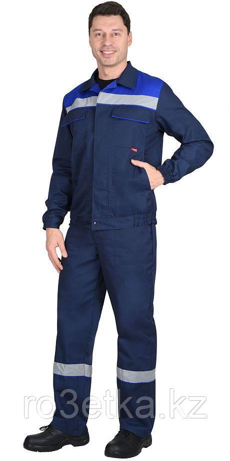 "Костюм ""МАСТЕР"" летний: куртка кор., брюки темно-синий с васильковым"