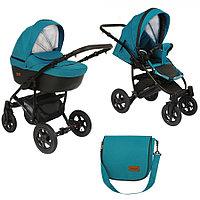 Детская коляска 2 в 1 Pituso Confort 2020 бирюза+кожатемный графит/рама черная