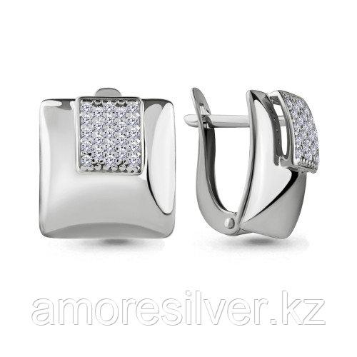 Серьги из серебра с фианитом   AQUAMARINE 46499А.5