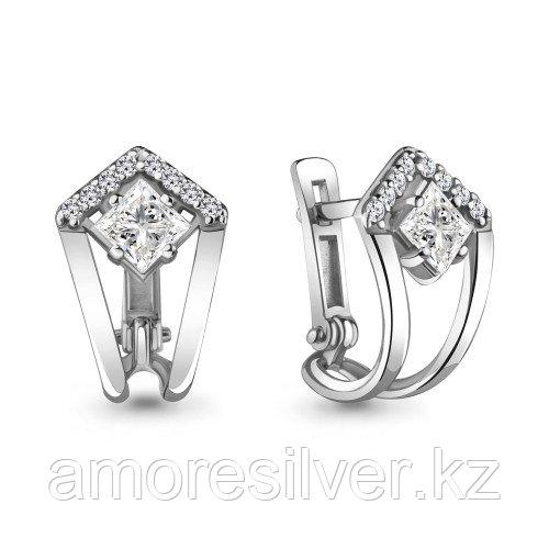 Серебряные серьги с фианитом   Aquamarine 48314А.5