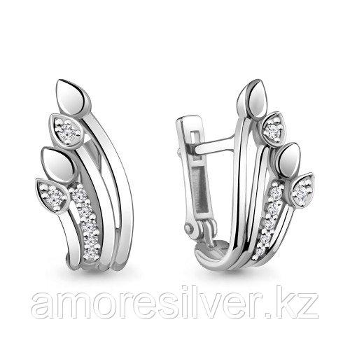 Серьги из серебра с фианитом Aquamarine 48320А.5