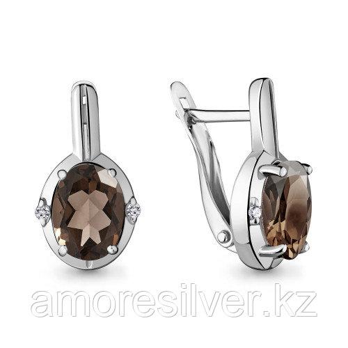 Серебряные серьги   Aquamarine 4469301.5