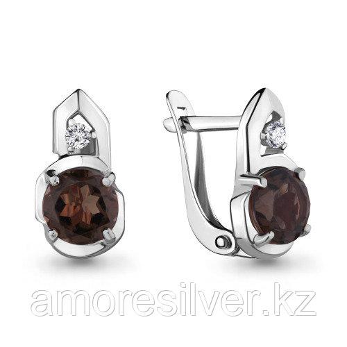 Серебряные серьги с фианитом    Aquamarine 4469201А.5