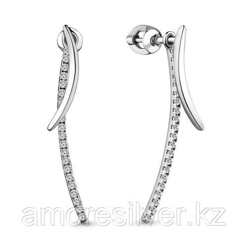 Серебряные серьги с фианитом   Aquamarine 48350А.5