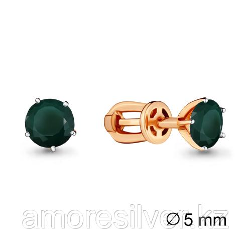 Серебряные серьги с агатом зелёным   Aquamarine 4403709.6