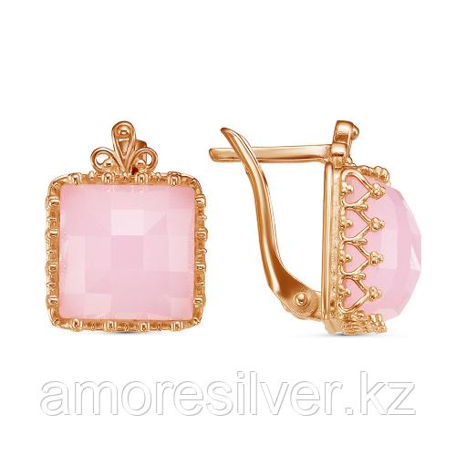 Серьги из серебра с кварцем розовым    Красная Пресня 33311393К