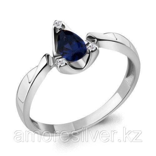 Серебряное кольцо с наносапфиром синт. и фианитом    Aquamarine 68696Б.5