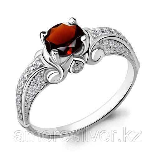 Серебряное кольцо с фианитом и гранатом    Aquamarine 6397603А.5