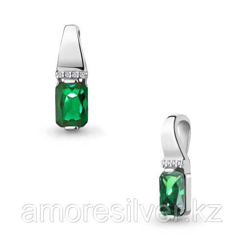 Серебряная подвеска с наноизумрудом синт. и фианитом    Aquamarine 24262АГ.5