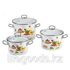"""Набор эмалированной посуды из 3-х кастрюль, (2 л, 3 л, 5,5 л) i1500 """"Томато"""", фото 3"""