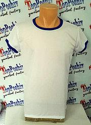 "Футболка для сублимации Ложная сетка ""Style woman"" цвет: белый, синяя кайма"