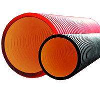 Двустенная труба ПНД жесткая для кабельной канализации д.200мм, SN6, 6м, цвет красный