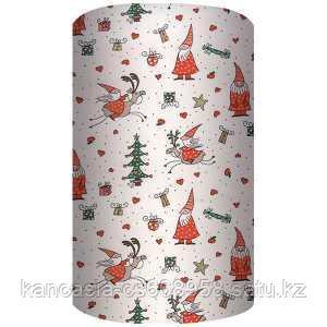 Non-branded Упаковочная бумага супергладкая, легкомелованная, Новогодние персонажи, 70*150 см, на белом фоне.