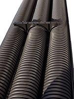 Двустенная труба ПНД жесткая для кабельной канализации д.200мм, SN8, 6м, цвет черный