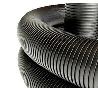 Двустенная труба ПНД жесткая для кабельной канализации д.200мм, SN8, 5,70м, цвет черный, фото 1